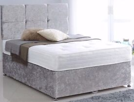 SAME DAY FAST DELIVERY!! BRAND NEW CRUSHED VELVET DIVAN BED BASE with deep quilted MATTRESS