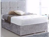-- BLACK CREAM AND SILVER -- BRAND NEW DOUBLE CRUSH VELVET DIVAN BED WITH WHITE ORTHOPEDIC MATTRESS