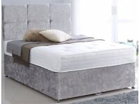 BLACK SILVER AND CREAM! New Double Crush Velvet Divan bed and deep quilt mattress - get it now