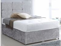 🚚🚛Same Day Drop🚚 Brand New Double / Small Double Divan Bed in crush velvet Fabric With Mattress