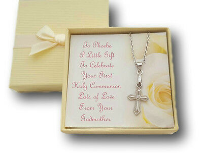 FIRST HOLY COMMUNION NECKLACE CROSS WITH PERSONALISED CARD & BOX PRESENT ](First Communion Present)