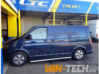 VW T5 Slashed End Side Bars Stainless Steel Untreated Finish (Rat Look)