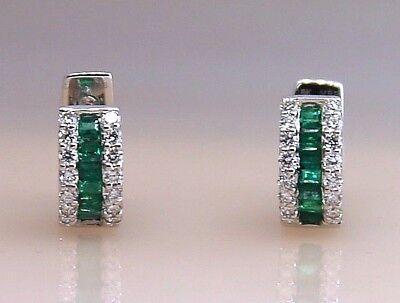Diamonds & Emeralds Huggies Earrings in 18K White Gold Size 0.5