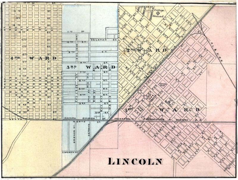 Lincoln  Illinois Logan Co IL 1876 Map Genealogy