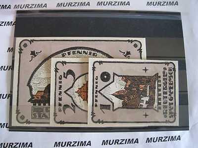 Gadebusch 3 Scheine Notgeld 10, 25,  50 pfennig Reutergeld Serie Kompl. *