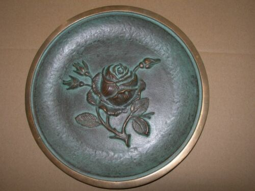 Beautifull Rare Antique Panel relief plate rose bronze Germany with  stamp Used