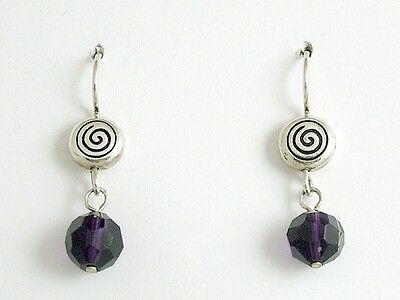 Pewter & Sterling Silver Spiral dangle earrings-dark purple crystal, spirals