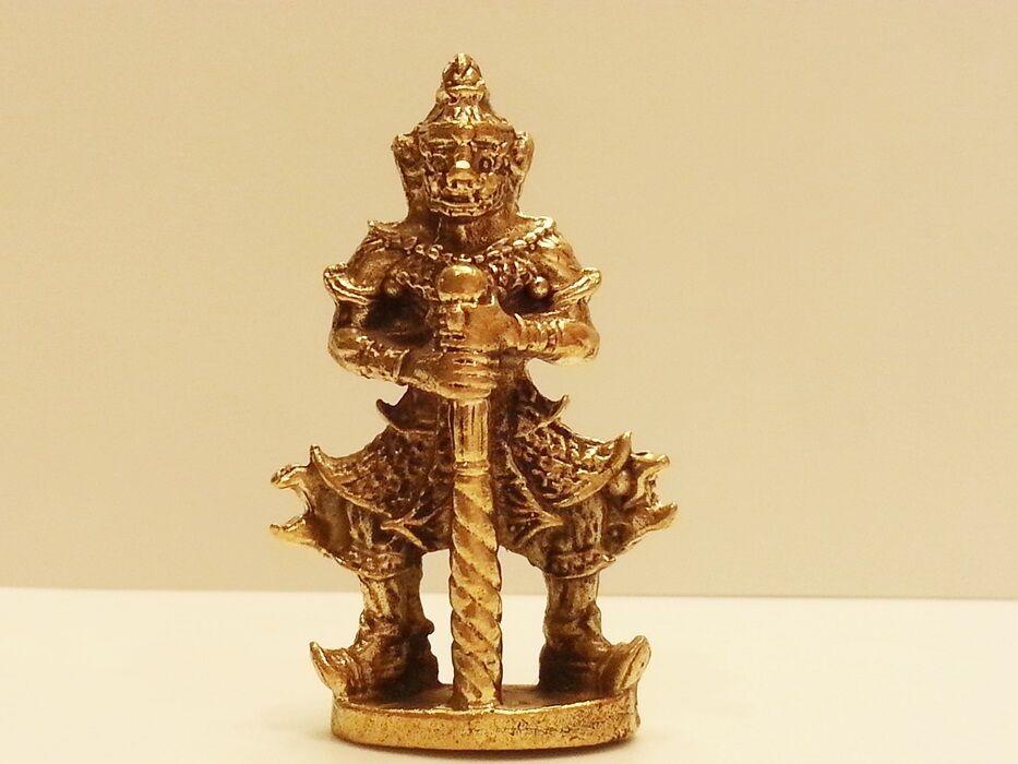 Thai Amulet Brass STAND GIANT BATON GUARD Figurine Lucky Mini RAMAYANA Collect