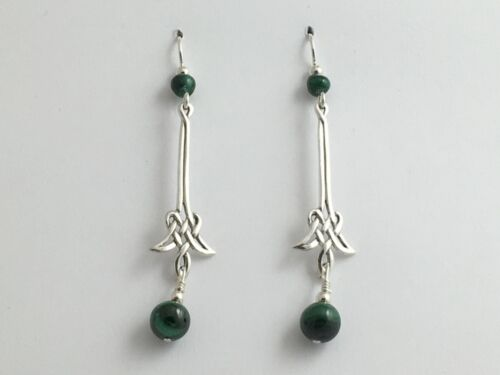 Sterling Silver Long drop angular Celtic Knot Earrings-Malachite, gorgeous,green