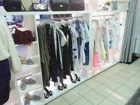 Boutique or shop display units on wheels Gondola unit storage freestanding shelves shop retail