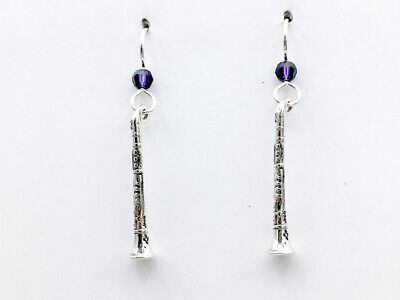 Sterling Silver Clarinet dangle earrings-music, woodwinds, band, instrument,