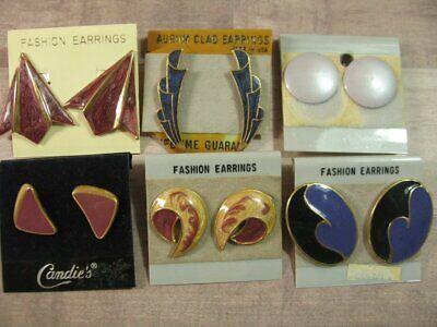 80's Costume Jewelry (Vintage 80's 90's Enamel Earring Jewelry Lot Carded NOS PURPLE 6)