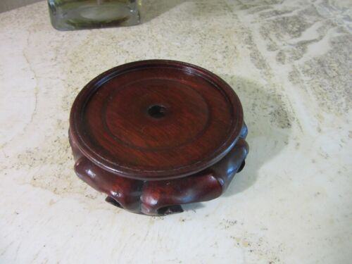"""Ornate wood Asian stand for, vase, bowl figurine. 3.5"""""""