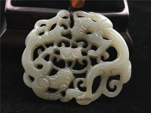 51mm China 100/% Natural hetian old jade hollow out carved double crane Pendant