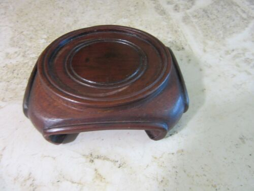 """Small, Ornate wood Asian stand for, vase, bowl figurine. 3"""""""
