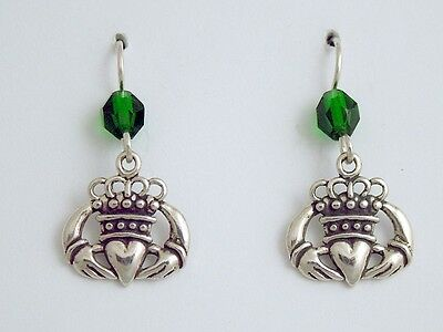 Sterling Silver stylised Claddagh Earrings-celtic-Irish-Ireland- Eire-love,green