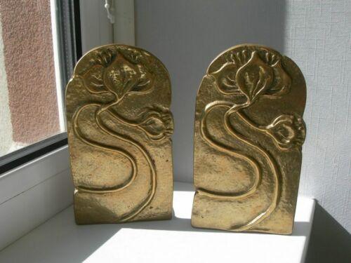 Rare Beautifull Small Bucknds Lilies book holders bronze Austria new Hand Carved