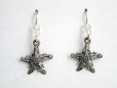 Pewter & Sterling silver starfish w/ spiral earrings-ocean-coast- sea, star fish