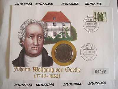 "Numisbrief  ""Goethe""  5 mark 1982 D  DM Gedenk-Münze *"