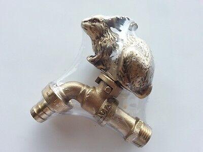 Brass Garden Tap Faucet Rabbit Spigot Vintage Water Home Decor Living Outdoor