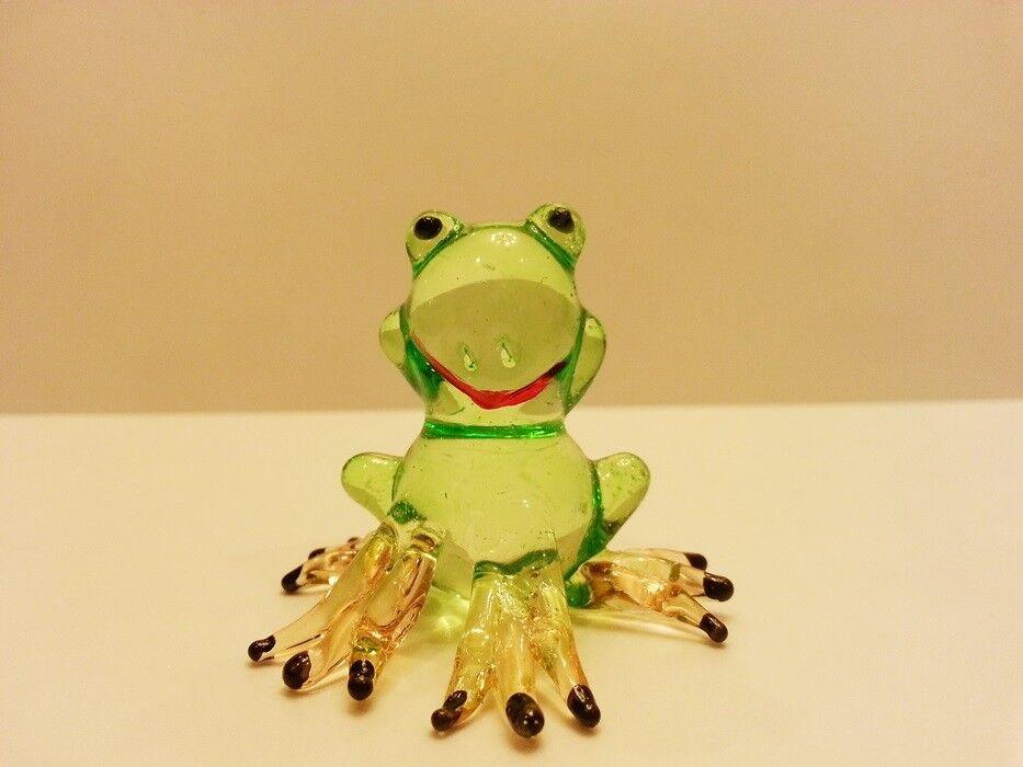 ฺHand Blown Glass Green Frog Figurine Art Animal  Mini Collect Home Decor Gift