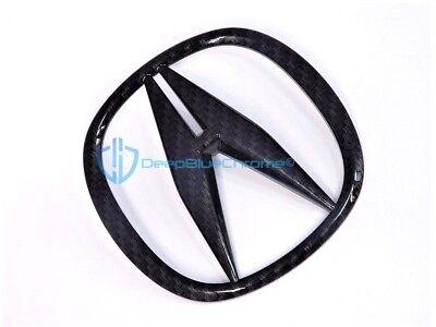 Acura TSX 09-14 ILX 13-15 Black Carbon Fiber Emblem Front Grille Badge OEM Logo