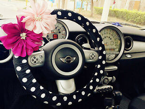 Car-Steering-wheel-cover-Black-White-polka-dots-w-Removable-Chiffon-flowers