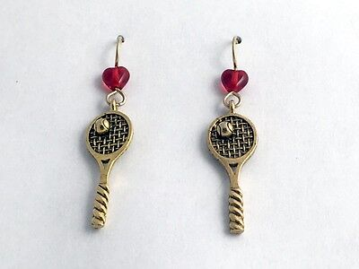 - Gold Tone Pewter & 14kgf Tennis Racquet & Ball dangle Earrings-Racket- balls