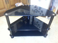 TV Stand Small Black Glass Free Local Deiivery