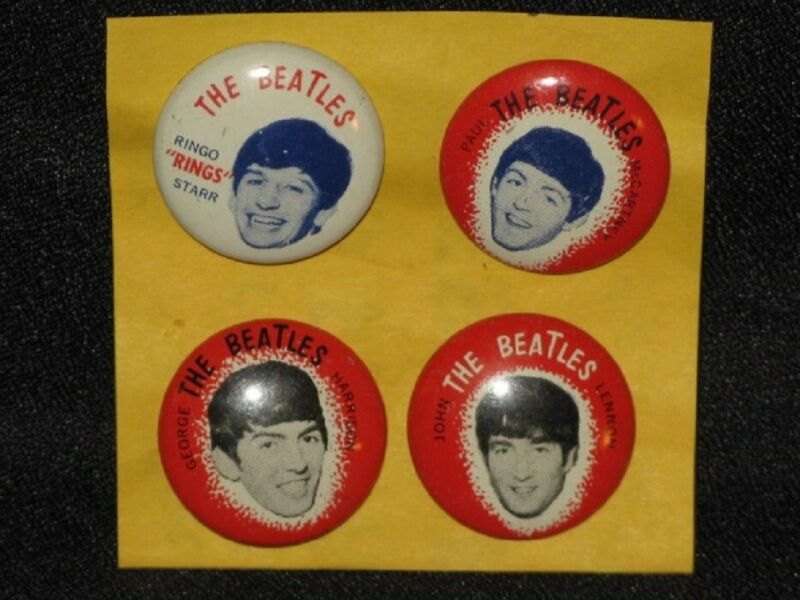 The Beatles 1964 Seltaeb Paul John George Ringo Set 4 Green Duck Tin Litho Pins