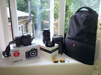 Canon EOS 70D Digital SLR Camera with Sigma 18-35mm lens and accessories