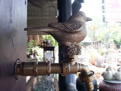 BRASS GARDEN TAP FAUCET BIRD SPIGOTS VINTAGE ...