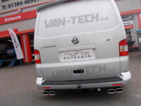 VW T5 Transporter Stainless Steel Custom Exhaust Back Box Dual Twin Tail Pipes