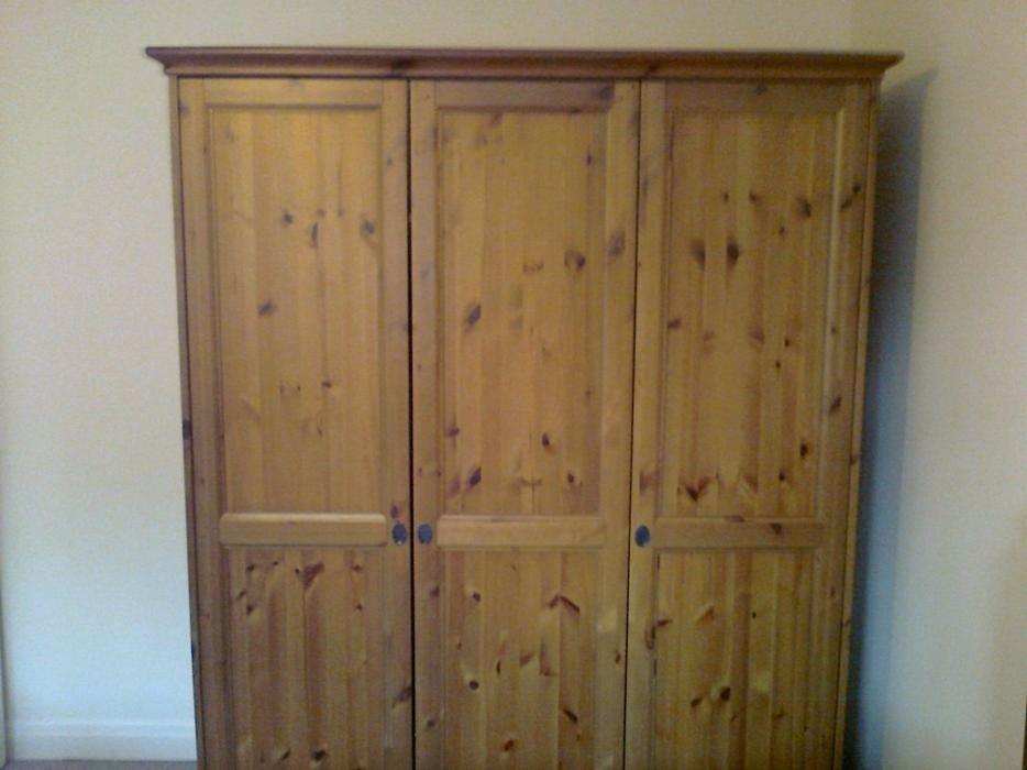 Ikea Leksvik Triple 3 Door Pine Wardrobe In Hillingdon