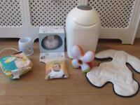 Baby bundle bottle warmer nappies baby light car seat insert bibs