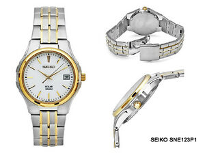 SEIKO-Watch-SNE123P1-Quartz-Solar-Bicolor