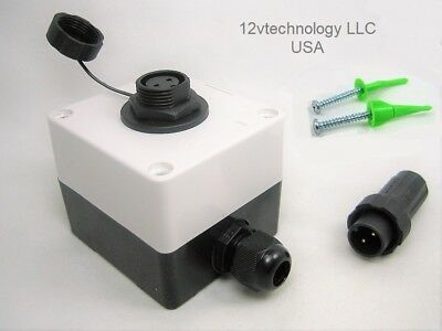 Waterproof Junction Box Case Two 2 Pin Wire Connector Marine 12v Plug Socket