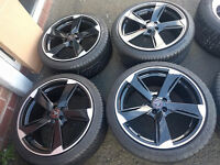 """18"""" inch Wolfrace Genesis Alloy Wheel in Gloss Black and part-worn 225 40 18 Tyres"""