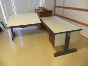 Drafting table with credenza