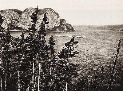1925 Vintage Print CANADA Cape Trinity Saguenay River Boat Quebec Landscape Art