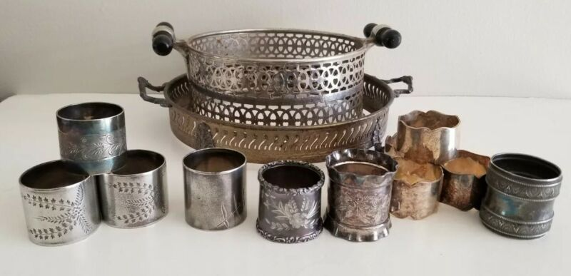 Antique Silverplate Lot Engraved Napkin Rings Table Trivets Flowers Victorian