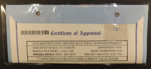 Gemstone Gem Stone Appraisal Genuine Blue Topaz 0.51 Carats COA $110 Oval Nov