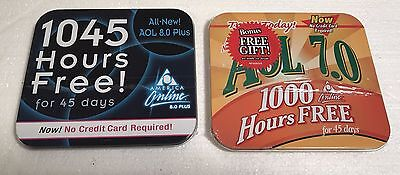 2 Aol Cd Disk In Tin Box Advertising Promotion 1045 Hours Unopened