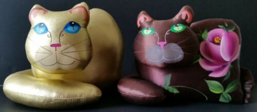 Two Vintage Jan Feenstra Handmade Satin Soft Sculpture Cats or Plush Dolls