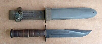 WWII USN Camillus Navy Mark 2 Fighting Knife Guard Marked NR
