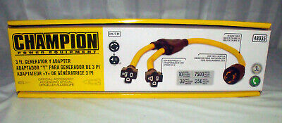 Champion 3ft Weather-resistant Generator Cord 48035 L14-30p To 2 5-20r
