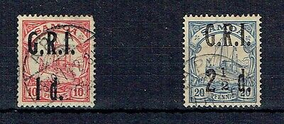 Samoa 1914 GRI opt - 1d on 10pf used & 2½d on 10pf used with thin as scan