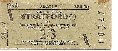 B.R.B. Rapidprinter Ticket- Stratford to any L.T. Station on Fares List for 2/3