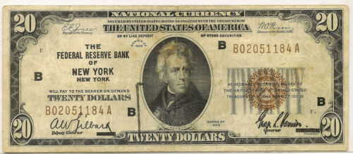 1929 $20 NATIONAL CURRENCY ~ FEDERAL RESERVE BANK NEW YORK ~ CIRCULATED ~ #184