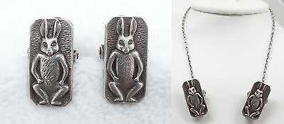 Antique Victorian Sterling Bunny Rabbit Baby Bib Clips Holder Sweater Guard